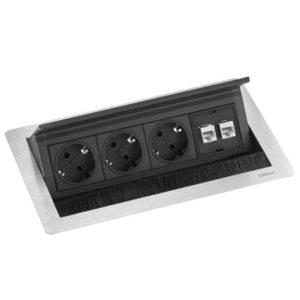 Evoline FlipTop Push 3x230V + 2xRJ45 INOX