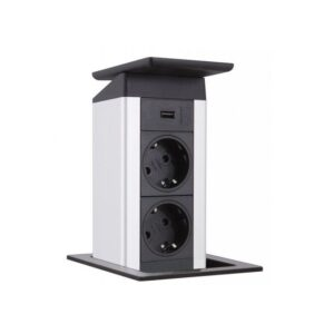 Kolumna blatowa Evoline Port Push 2x230V + USB ładujące - stal nierdzewna
